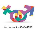 female and male drawn painted... | Shutterstock .eps vector #386644780