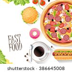 fast food flat banner. for... | Shutterstock .eps vector #386645008
