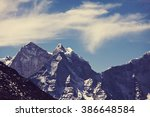 mountains in sagarmatha region  ... | Shutterstock . vector #386648584