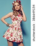 fashion studio photo of... | Shutterstock . vector #386649154
