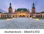 Bishop`s Palace after sunset in Kielce, Poland, Europe.