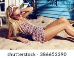 fashion outdoor photo of... | Shutterstock . vector #386653390