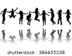 set of children silhouettes... | Shutterstock . vector #386655238
