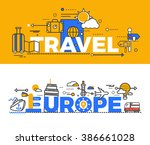 travel europe design flat... | Shutterstock .eps vector #386661028