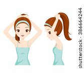 girl tying her hair  front and... | Shutterstock .eps vector #386664244