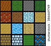 collection of sixteen seamless...   Shutterstock .eps vector #386669749