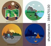 hiking and outdoor set flat... | Shutterstock .eps vector #386670130