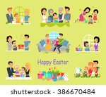 happy easter family set design. ... | Shutterstock .eps vector #386670484