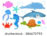 set of  sea creatures | Shutterstock .eps vector #386670793