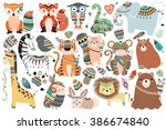 Stock vector woodland and jungle tribal animals isolated vector set 386674840