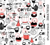 graphic pattern with crockery... | Shutterstock .eps vector #386678560