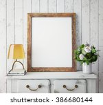 mock up poster frame with on... | Shutterstock . vector #386680144