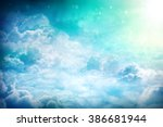 over the clouds. fantastic... | Shutterstock . vector #386681944