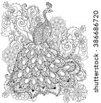 zentangle stylized peacock hand ... | Shutterstock .eps vector #386686720