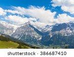 panorama view of schreckhorn... | Shutterstock . vector #386687410