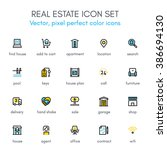 real estate theme line icon set.... | Shutterstock .eps vector #386694130