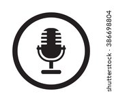 flat black microphone web icon...   Shutterstock .eps vector #386698804