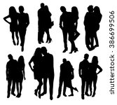 romantic couples silhouettes | Shutterstock .eps vector #386699506