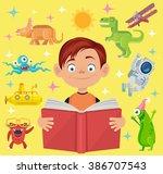 boy reads fairy tale book.... | Shutterstock .eps vector #386707543