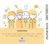teamwork flat line design... | Shutterstock .eps vector #386708014