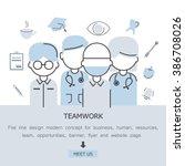 teamwork flat line design...   Shutterstock .eps vector #386708026
