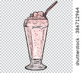 classic milkshake with cream in ... | Shutterstock .eps vector #386712964