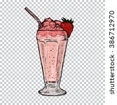 classic milkshake with cream... | Shutterstock .eps vector #386712970