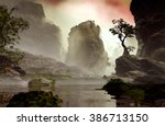 3d illustration of landscape... | Shutterstock . vector #386713150