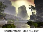 3d illustration of landscape... | Shutterstock . vector #386713159