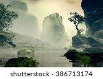 3d illustration of landscape... | Shutterstock . vector #386713174