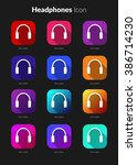 headphone icons ui app set for...