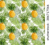 Tropical Palm Leaves And...