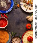 table served with traditional... | Shutterstock . vector #386722489