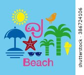 beach. travel icon kit. color... | Shutterstock .eps vector #386724106
