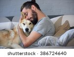 hipster man snuggling and... | Shutterstock . vector #386724640