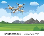 quadcopter aerial drone flying... | Shutterstock .eps vector #386728744