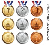 medals with ribbon. set of gold ... | Shutterstock .eps vector #386733460