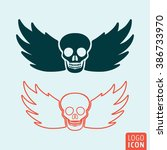 skull icon. skull with wings...