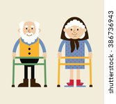 retired elderly senior age... | Shutterstock .eps vector #386736943