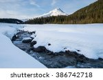 Winter Creek Through Snow With...