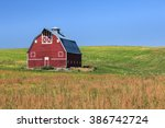 Red Barn On Green Field With...