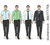 vector set of sketch men models.... | Shutterstock .eps vector #386777758
