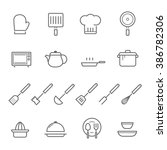 lines icon set   kitchenware  | Shutterstock .eps vector #386782306