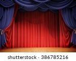 velvet curtains and wooden... | Shutterstock . vector #386785216