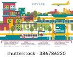 city life flat vector...   Shutterstock .eps vector #386786230