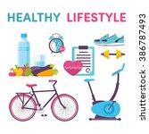 icons healthy living  sport ...   Shutterstock .eps vector #386787493