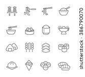 lines icon set   eastern food | Shutterstock .eps vector #386790070