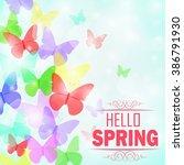 colorful butterflies background ... | Shutterstock . vector #386791930
