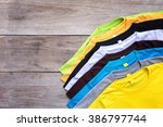 top view of color t shirt on...   Shutterstock . vector #386797744