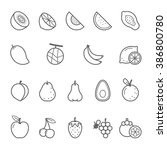 lines icon set   fruit | Shutterstock .eps vector #386800780